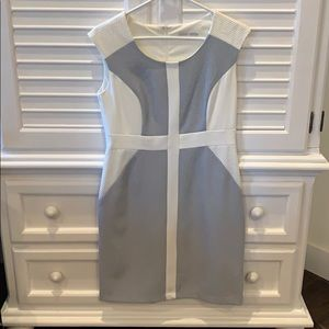 Slimming White and Light Blue Dress
